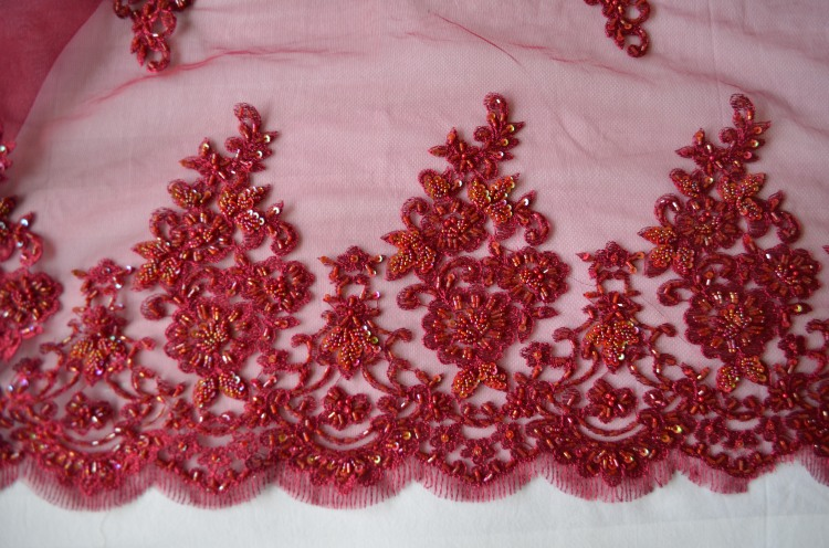 coral and red french lace