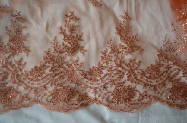 delicat copper lace with tiny sequins
