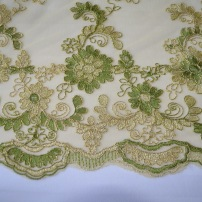 green and gold corded lace