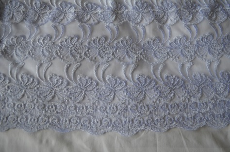 silver white embroidered lace